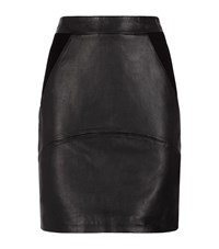 Reiss Clarisse Leather Ponte Skirt Female Black