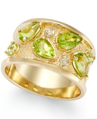 Macy's Peridot 2 Ct. T.W. And Diamond Accent Ring In 14K Gold Green