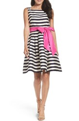 Eliza J Women's Stripe Fit And Flare Dress Navy Ivory
