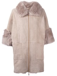 Agnona Trim Detail Coat Nude Neutrals