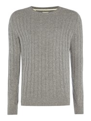 Selected Men's Homme Cable Knit Crew Neck Wool Blend Jumper Light Grey Marl