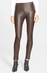 Theory 'Abdelle' Leather Leggings Varnish
