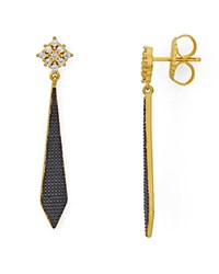 Freida Rothman Indigo Armour Textured Drop Earrings Black