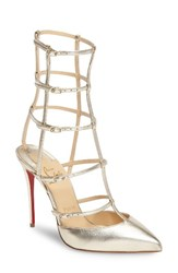 Christian Louboutin Women's Kadreyana Cage Pump Metallic Gold