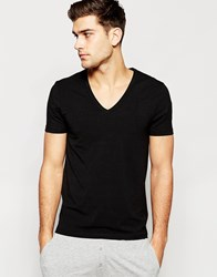 Asos Loungewear Muscle T Shirt With Deep V Neck In Black Black