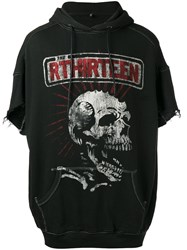 R 13 R13 Skeleton Print Shortsleeved Hoodie Black