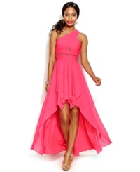 Hailey Logan By Adrianna Papell Juniors' One Shoulder High Low Dress Shocking Pink