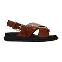 Marni Brown Croc Sandals Fussbett Sandals