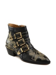 Chlo Suzanna Studded Leather Ankle Boots Navy Black