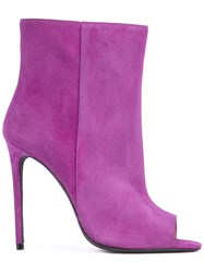 Off White Open Toe Bootie Women Leather Calf Suede 39 Pink Purple