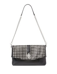 Lauren Ralph Lauren Houndstooth Printed Satchel Black White
