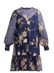 Erdem Christy Gertrude Embroidered Silk Organza Dress Navy Multi