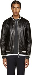 Dolce And Gabbana Black Lambskin Bomber Jacket