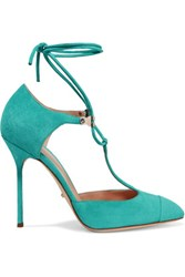 Sergio Rossi Lady Jane Cult Suede Pumps Turquoise