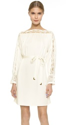 Maiyet Boat Neck Belted Mini Dress Off White