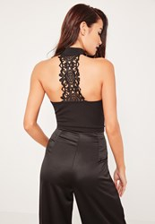 Missguided Black Lace Detail Back Tab Neck Bralet