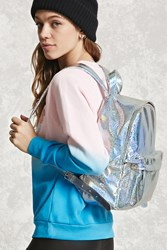 Forever 21 Holographic Top Zip Backpack Silver Multi