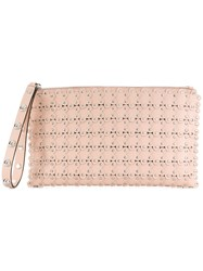 Red Valentino Flower Puzzle Clutch Nude And Neutrals