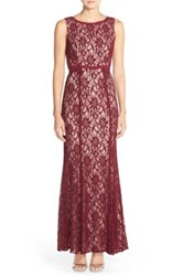 Xscape Evenings Glitter Lace Gown Red