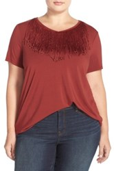 Junarose Fringe Neck Top Plus Size Red