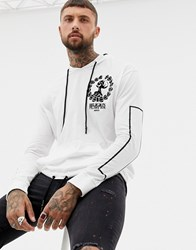 Religion Long Sleeve Top With Flock Print White