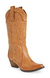 Women's Very Volatile 'Haystack' Western Boot Tan Faux Leather