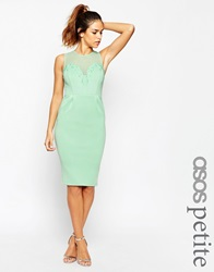 Asos Petite Pencil Dress With Encrusted Deep Plunge Mint