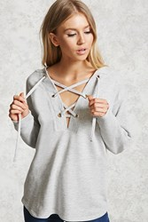 Forever 21 French Terry Lace Up Hoodie Heather Grey