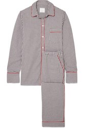 Three J Nyc Halle Checked Cotton Flannel Pajama Set Gray