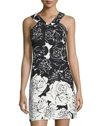 Taylor Floral Print Stretch Cotton Shift Dress Black White