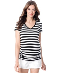 A Pea In The Pod Maternity Striped Ruched Tee Black White Stripe