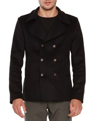 Tomas Maier Wool Blend Pea Coat Black