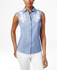 Karen Scott Petite Embroidered Sleeveless Shirt Only At Macy's Chambray Wash