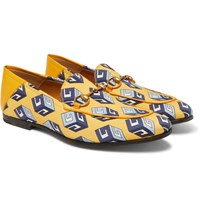 Gucci Brixton Horsebit Leather Trimmed Printed Satin Loafers Yellow