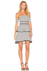 Endless Rose Striped Off The Shoulder High Low Dress Black And White