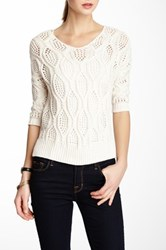 Lavand. Loose Knit Sweater White