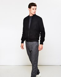 The Idle Man Faux Suede Bomber Jacket Black