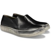 Rick Owens Leather Slip On Sneakers Black