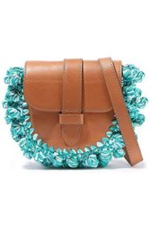 M Missoni Woman Knotted Crochet Paneled Leather Shoulder Bag Jade