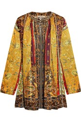 Etro Printed Silk Satin Twill Tunic Yellow