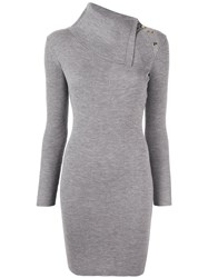 Paule Ka Ribbed Knit Dress Grey
