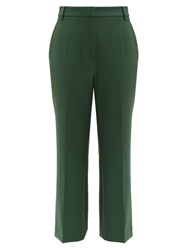 Tibi Anson Straight Leg Cropped Trousers Green