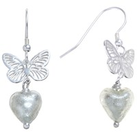 Martick Sterling Silver Butterfly Murano Glass Heart Earrings