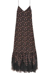 Mcq By Alexander Mcqueen Lace Trimmed Floral Print Silk Crepe De Chine Maxi Dress Black