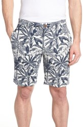 Tailor Vintage Cotton And Linen Shorts White Palm Parrot Print