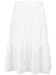 Diane Von Furstenberg Layered Lace Skirt White