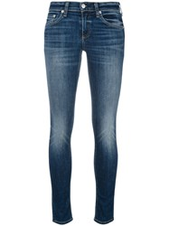 Rag And Bone Jean Lightly Distressed Skinny Jeans Blue