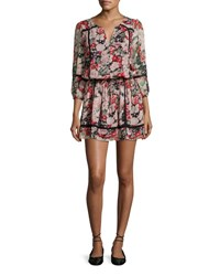 Joie Eldora Floral Print Silk 3 4 Sleeve Blouson Dress Black