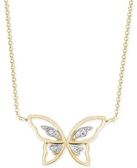 Victoria Townsend Diamond Accent Butterfly Pendant Necklace In 18K Gold Over Sterling Silver