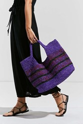 Urban Outfitters Raffia Slouchy Tote Bag Purple